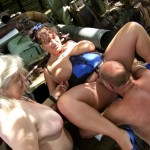 72 granny & Essex Kim fuck a dude outdoors